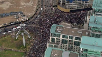 Aerial of protesters