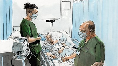 Depiction of medical staff at Dragon's Heart hospital by Dan Peterson