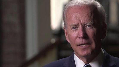 Democratic presidential candidate Joe Biden speaks to CBS News after meeting the family of George Floyd.