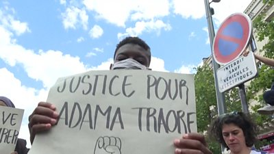 Around 15,000 people took to the streets in Paris to demonstrate against protest police brutality.