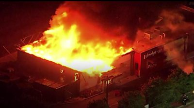 Wendys restaurant on fire