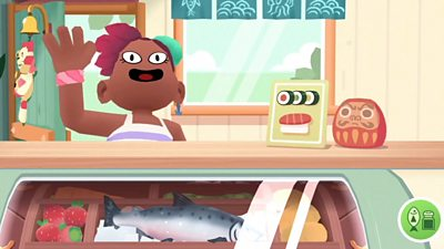 A person walks into a sushi restaurant in a scene from the game Toca Kitchen Sushi
