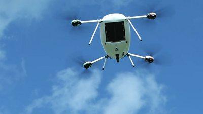 A Manna Aero drone delivering medicine