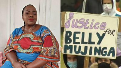 Belly Mujinga and a banner 'Justice for Belly Mujinga'