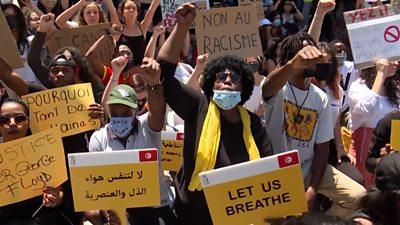Black Arabs protesting in Tunis, capital of Tunisia