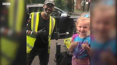 Tallulah, 8, learnt to sign language so she could greet Tim, who is deaf, during lockdown.
