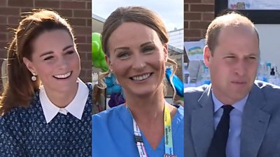 The Duke and Duchess of Cambridge visit a hospital and thank staff for their coronavirus efforts.