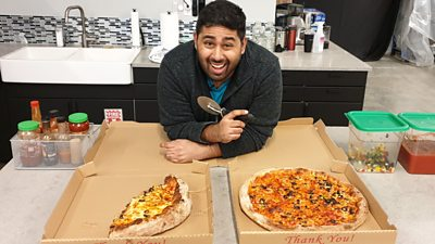 BBC Click reporter Omar Mehtab stands next to two pizzas - one made by him and one assembled by a machine
