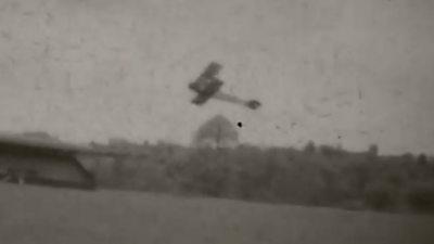 A plane taking off at Llandrindod Wells aerodrome