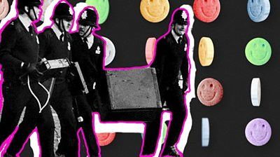 Police officers shutting down a rave superimposed on to ecstasy pills background