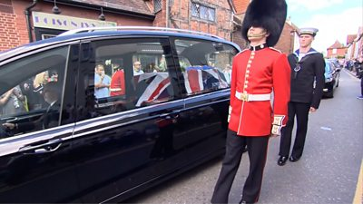 The funeral cortege of Dame Vera Lynn in Ditchling