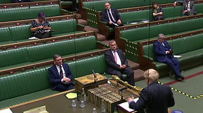 Ed Davey and front benchers at PMQs
