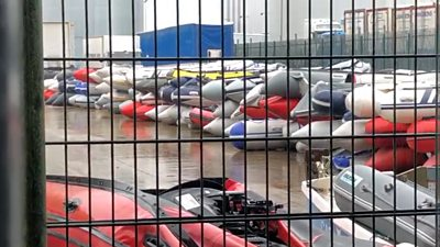 Dinghies piled up in Dover