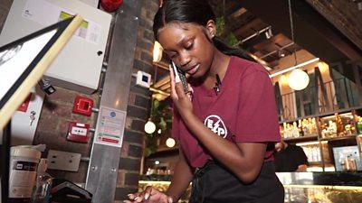 Waitress on the phone