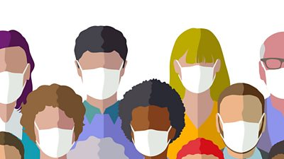 Graphic showing people wearing masks