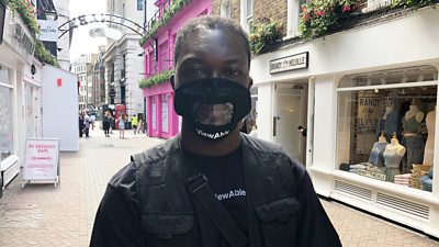 Kevin Walker has found the pandemic difficult as he cannot communicate with people with full-faced masks on.