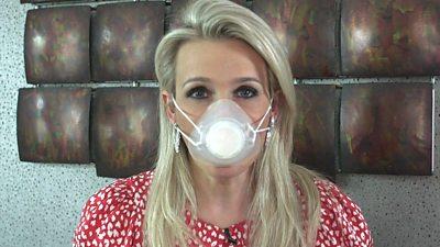 Lara Lewington wearing a 3D printed mask