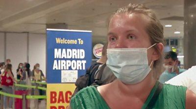 Woman at Madrid Airport