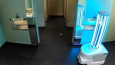A Nordic Eye robot disinfects toilets at Heathroom Airport