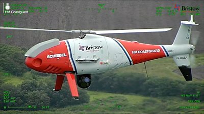 Schiebel S-100 with coastguard and Bristow branding
