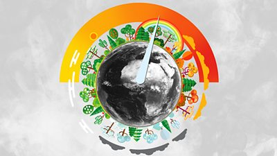 Illustration of planet Earth encircled by the four weather seasons
