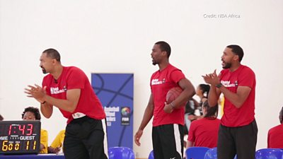NBA Africa players cheering during a game