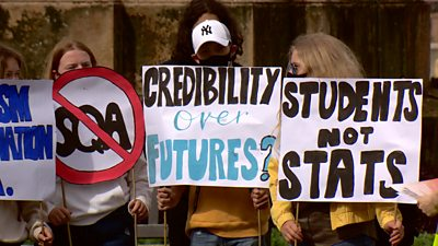Glasgow School pupils protest over SQA exam results