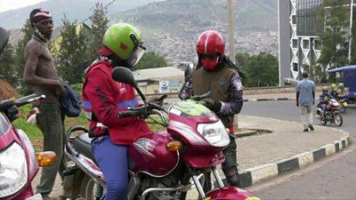 Motorcyclists in Rwanda
