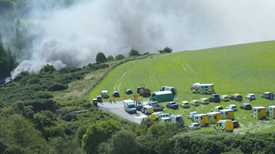 Several fire and ambulance crews have been called to the scene near Stonehaven.