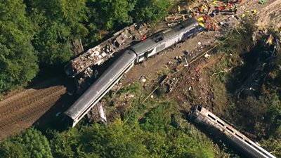 It is thought the train hit a landslide after heavy rain and thunderstorms in the area.