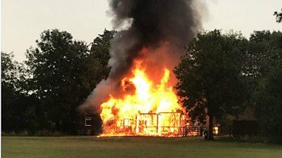 Pavilion destroyed by fire after suspected lightning strike