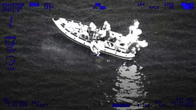 Night vision helicopter footage of a lifeboat
