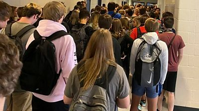 Crowded Georgia school hallway