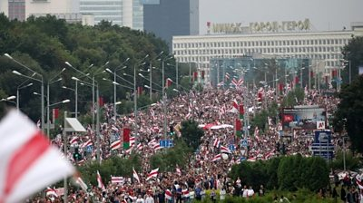 Huge crowd of protesters in Minsk