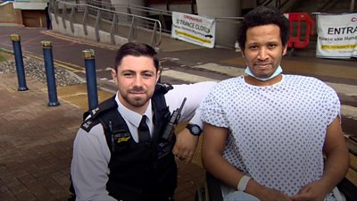 Policeman, PC Mitch Howton, saved a man's life after he saw him collapse in Surrey Quays. Rui Andrade was suffering from a heart attack when PC Howton was on patrol.