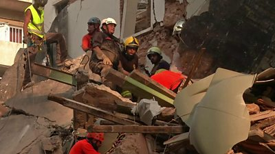 Rescuers in Beirut search rubble for a survivor of the blast