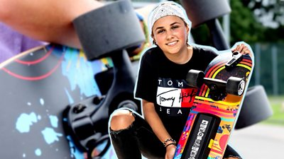 charlotte and skateboard