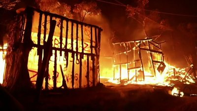 Moria camp on fire