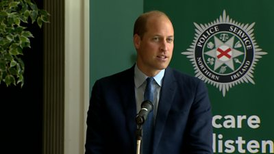 The Duke of Cambridge has thanked the members of Northern Ireland's emergency services during a visit to Belfast.