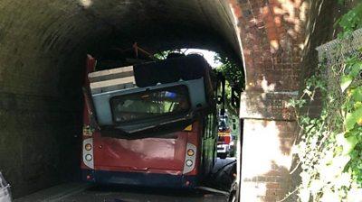 bus under bridge