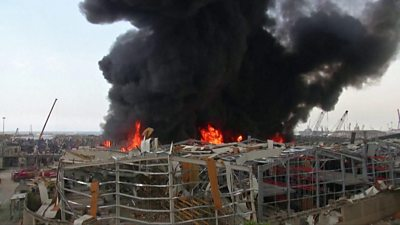Beirut fire: Blaze in port area a month after explosion thumbnail