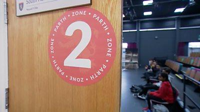 Door showing zone area number in Olchfa school