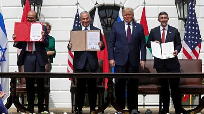 The UAE and Bahrain sign agreements fully normalising their relations with Israel at the White House.