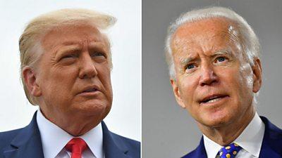 Presidential candidates, US President Donald Trump (L) and Joe Biden (R)