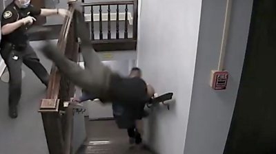 A deputy went down the stairs head first trying to catch the defendant as he made a run for it.