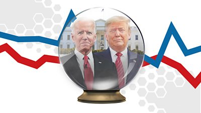 Biden and Trump in a crystal ball graphic