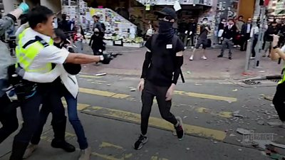 Hong Kong protesters facing prison after being shot by police thumbnail