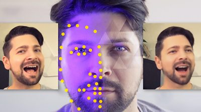 Chris Fox with tracking dots on his face