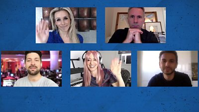 Five people on a video call on a blue background