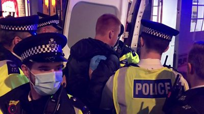 Police and pub goers clashed in London's Soho on Friday night, ahead of new coronavirus restrictions.